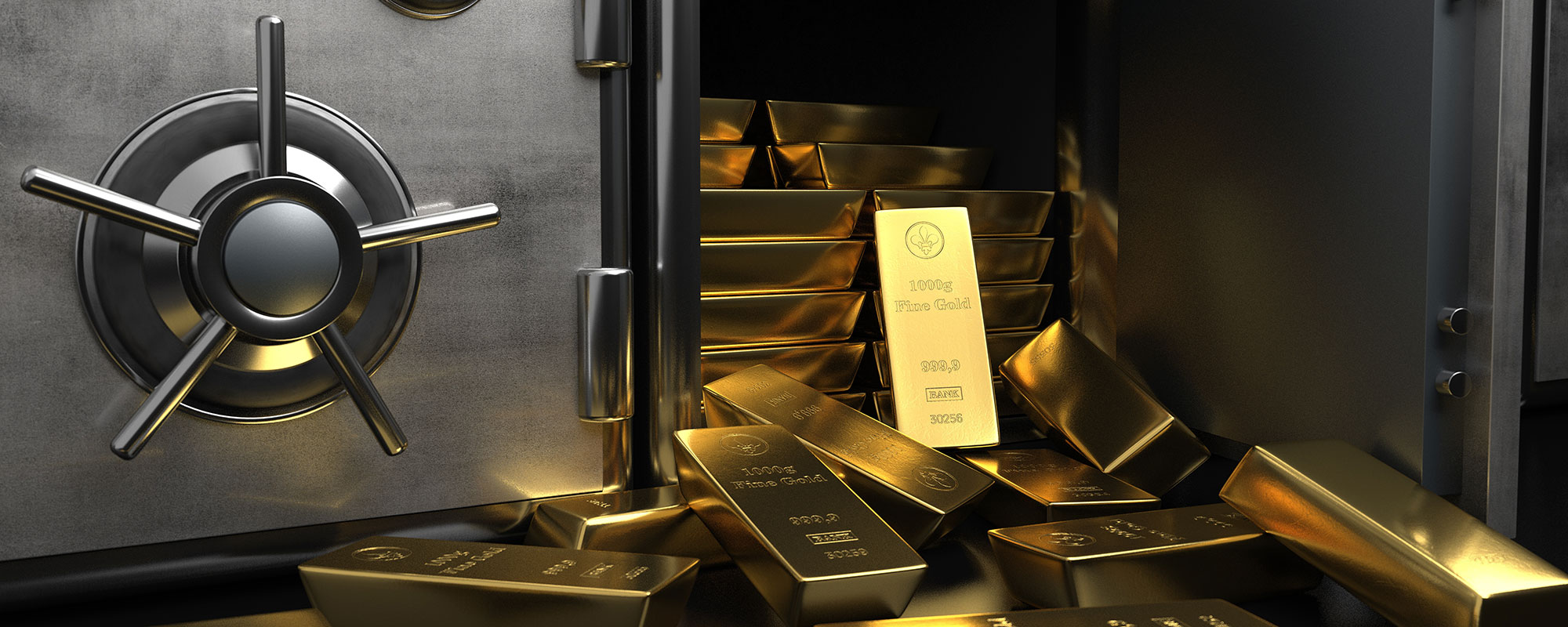 Safe with gold bars